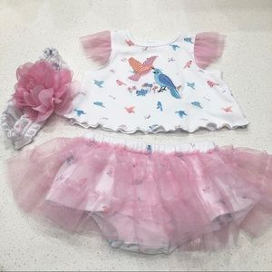 Starting Out Bird Tulle Shirt and Bloomer Set
